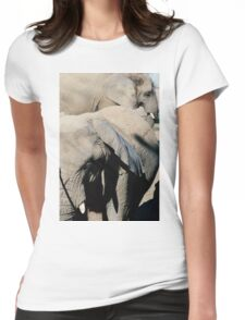 Two Elephants Closeup Womens Fitted T-Shirt