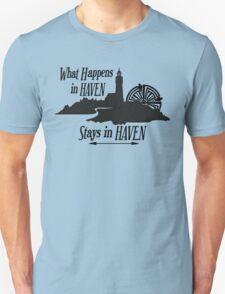 What Happens In Haven Lighthouse Black Logo Unisex T-Shirt