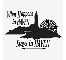 What Happens In Haven Lighthouse Black Logo Photographic Print