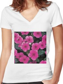 Flowers #2 - Periwinkles Women's Fitted V-Neck T-Shirt