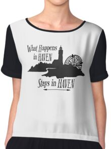 What Happens In Haven Lighthouse Black Logo Women's Chiffon Top