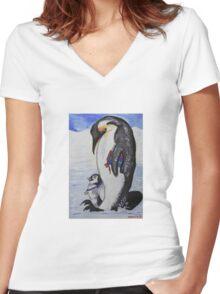 Celebrating Penguins Women's Fitted V-Neck T-Shirt