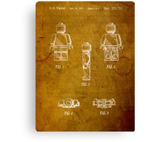 Lego Minifig Vintage Patent 1 on Worn Paper Canvas Print