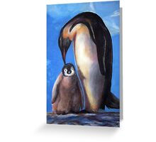 Penguins mother and baby Greeting Card