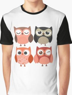 Cartoon Owls with Emotions Graphic T-Shirt
