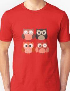 Cartoon Owls with Emotions Unisex T-Shirt