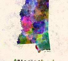 Mississippi US state in watercolor by paulrommer