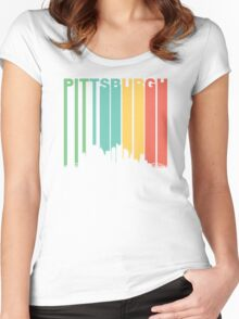Vintage Pittsburgh Cityscape Women's Fitted Scoop T-Shirt