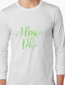 alpha phi aphi sorority sticker greek laptop watercolor Long Sleeve T-Shirt