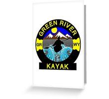 KAYAK GREEN RIVER WYOMING KAYAKING WHITEWATER CANOE CANOEING Greeting Card