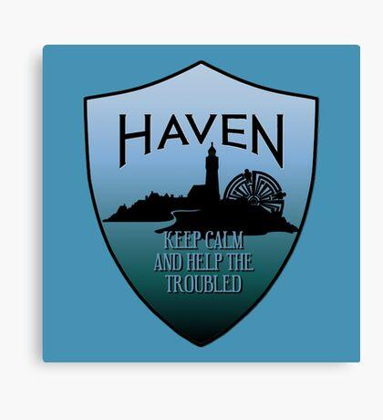 Haven Keep Calm Blue Badge Logo Canvas Print