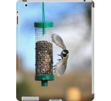 Coal tit flying from seed feeder iPad Case/Skin