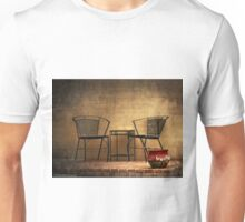 Table and Chairs in Black Unisex T-Shirt