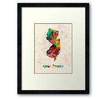New Jersey US state in watercolor Framed Print