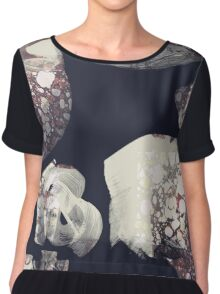 Marbled Patchwork Brush Strokes Chiffon Top