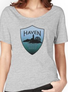 Haven Keep Calm Blue Badge Logo Women's Relaxed Fit T-Shirt