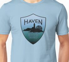 Haven Keep Calm Blue Badge Logo Unisex T-Shirt