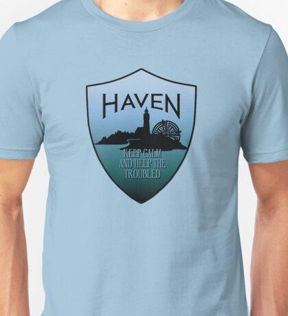 Haven Keep Calm Blue Badge Logo Unisex T-Shirt
