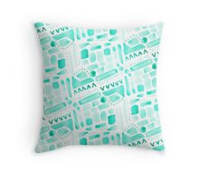 Watercolor Pattern Play in Green Throw Pillow