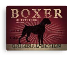 VINTAGE ANIMALS BOXER DOG ORIGINAL ART PRINT RED Canvas Print