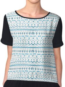 Pattern Play in Turquoise Chiffon Top
