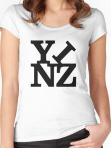 Yinz Black Lettering Women's Fitted Scoop T-Shirt