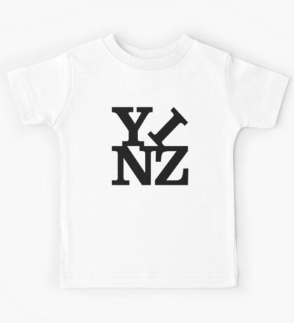 Yinz Black Lettering Kids Tee