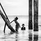 Children at Lakeba Beach by Mieke Boynton