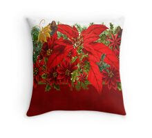 Poinsettias Christmas Card Throw Pillow