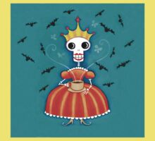 Skelly Queen Has a Cuppa Kids Tee