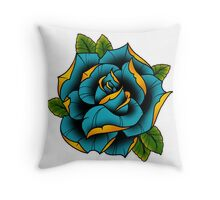 Neotraditional Rose in Blue Throw Pillow