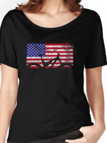 American Flag Mountain Bike USA Vintage United States Flag Women's Relaxed Fit T-Shirt