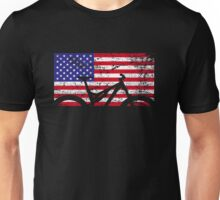 American Flag Mountain Bike USA Vintage United States Flag Unisex T-Shirt