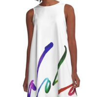 Aloha - Tropical Hand Lettering - Sails and Waves Calligraphy on White - Hawaii Hawai'i A-Line Dress