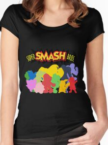 Super Smash Bros. 64 All Characters Silhouettes  Women's Fitted Scoop T-Shirt
