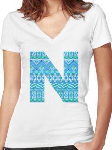 Letter N Blue Aztec Stripes Pattern Boho Monogram Initial Women's Fitted V-Neck T-Shirt