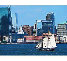 Yacht Against Manhattan Skyline Photographic Print