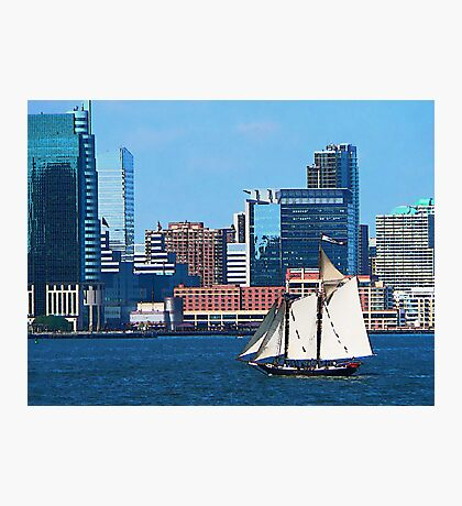 Yacht Against Manhattan Skyline Photographic Print