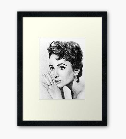 Elizabeth Taylor Stippling Portrait Framed Print