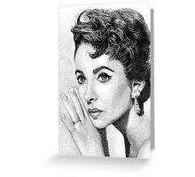 Elizabeth Taylor Stippling Portrait Greeting Card