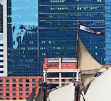 Yacht Against Manhattan Skyline Sticker