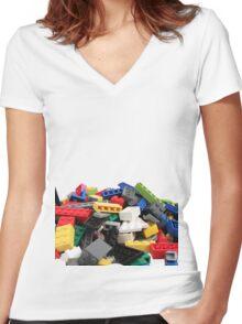 LEGO Bricks Pile Women's Fitted V-Neck T-Shirt