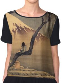 Boy in front of Fujiama - Hokusai - Views of Mount Fuji Print Chiffon Top