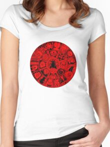 Cat Mandala in Red and Black Women's Fitted Scoop T-Shirt