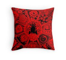 Cat Mandala in Red and Black Throw Pillow