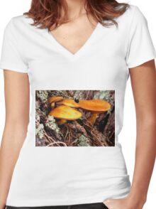The golden mushrooms  Women's Fitted V-Neck T-Shirt