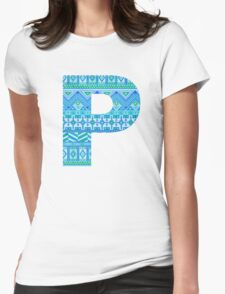 Letter P Blue Aztec Stripes Pattern Boho Monogram Initial Womens Fitted T-Shirt