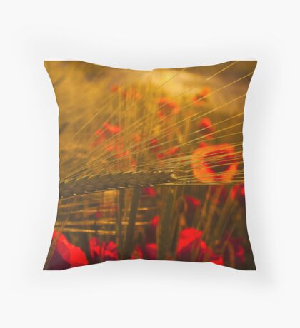 Poppies and Corn Throw Pillow