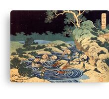 Fishing with torches - Hokusai - Views of Mount Fuji Print Canvas Print