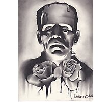 Original Charcoal Drawing of Frankenstein with Roses Photographic Print